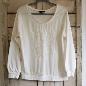 I Jeans By Buffalo White Embroidered Sweatshirt XL